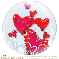 Folienballon Double Bubble Lovely Floating Hearts Bunt Transparent 60cm = 24inch