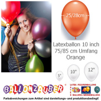 100 Qualitätsballons Orange Ø25cm 10inch Umf.75/85cm