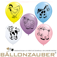 10 St. Motivballon Farm Animals Tiere div. Motive Farmtiere Rund bunt sortiert, div. Tier Motive Ballon Luftballon