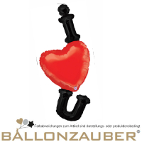 Folienballon Herz I Love you schwarz rot 125cm = 49inch Ballon Luftballon
