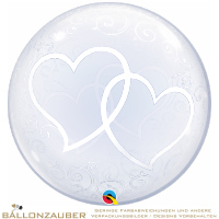 Folienballon Deco Bubble Entwined Hearts Transparent 60cm = 24inch