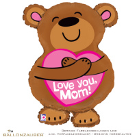 Folienballon Bär mit Herz Love you Mom braun rosa 71cm = 28inch Ballon