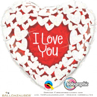 Folienballon Herz I love you rot weiß holographic 45cm = 18inch Ballon Luftballon