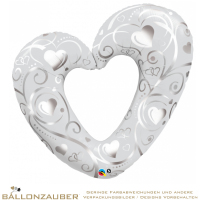 Folienballon Herz offen Hearts & Filigree weiß metallic 108cm = 43inch Ballon