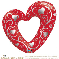 Folienballon Herz offen Hearts & Filigree rot metallic 108cm = 43inch Ballon