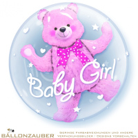 Folienballon Double Bubble Baby Girl Teddy transparent rosa 56cm = 22inch