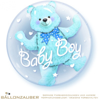 Folienballon Double Bubble Baby Boy Teddy transparent blau 56cm = 22inch