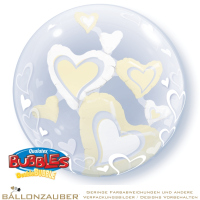 Folienballon Double Bubble Floating Hearts transparent creme 56cm = 22inch