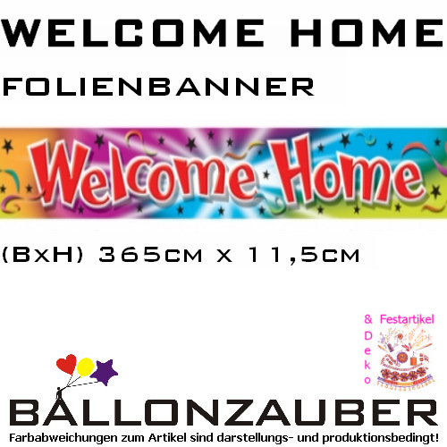 banner welcome home folienbanner willkommen zuhause party dekoration ebay. Black Bedroom Furniture Sets. Home Design Ideas