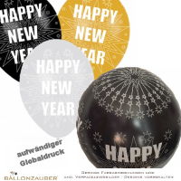 Latexballon New Year Global schwarz silber metallic Ø28cm Umf. 95/105cm 11inch