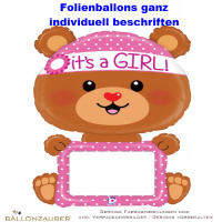 Folienballon beschriftbar Teddy Remarkables its a Girl pink 109cm = 43inch
