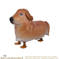 Folienballon Airwalker Dog Hund Golden Retriever braun weiß 65cm = 26inch